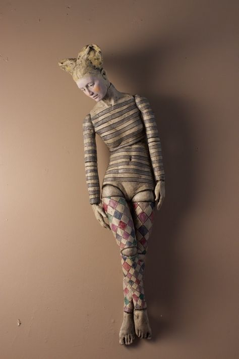 Figurative ceramic sculpture, playful archetypal images of puppets and dolls in expressive poses by Deborah Bridges