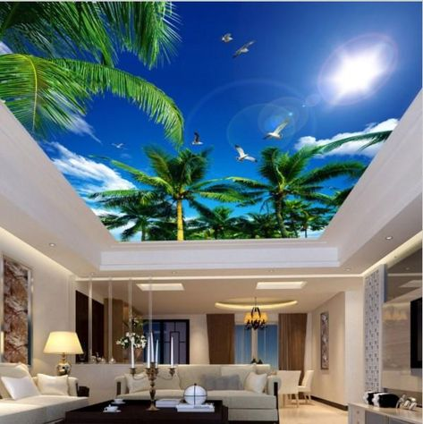 3d palm trees bright sky clouds ceiling wallpaper. High quality custom embossed coconut trees and seagulls wall mural for home or business. Free shipping.