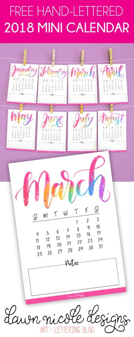 graphic regarding Printable Mini Calendar named Totally free Printable Hand Lettered 2018 Mini Calendar