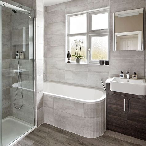 Modern grey bathroom makeover with separate shower and bath | Small Toilet Decor...#bath #bathroom #decor #grey #makeover #modern #separate #shower #small #toilet