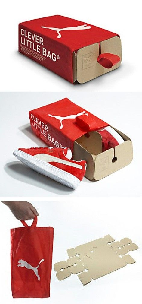 puma - clever little bag-I am sorry, but I work in a shoe shop and these are not clever; they don't stack, they fall apart and they give me paper cuts all the time plus customers have no idea what to do with them. How is this any better than a recyclable cardboard box?