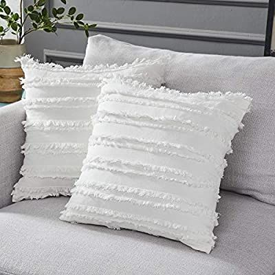 Amazon Com Longhui Bedding Ivory White Throw Pillow Covers For Couch Sofa Chair Cotton L In 2020 White Throw Pillows Throw Pillow Cover Couch Blue Throw Pillow Cover
