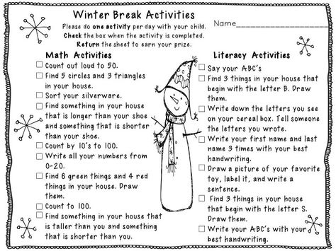 Love this! Free winter break activities and homework in one sheet!