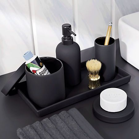 Rubber Coated Black Bath Countertop Accessories In 2019 Black