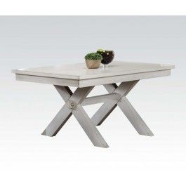 Acme Apollo Dining Table In Antique White 74660 By Dining Rooms