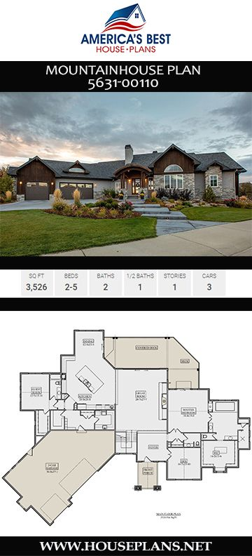 House Plan 5631 00110 Mountain Plan 3 526 Square Feet 2 5 Bedrooms 2 5 Bathrooms Mountain House Plans House Plans Basement House Plans