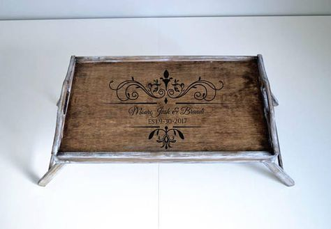 Personalized Serving Tray Custom Breakfast With Legs Bed In Stained Rustic Wooden A Brown