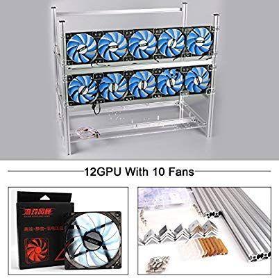 12 GPU Crypto Coin Aluminum Open Air Frame Mining Miner Rig Case w// 8 Fans