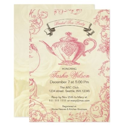 Pink Ivory Roses Vintage Bridal Tea