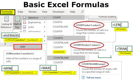 Basic Excel Formulas | List of Top 10 Basic Excel Functions with Examples