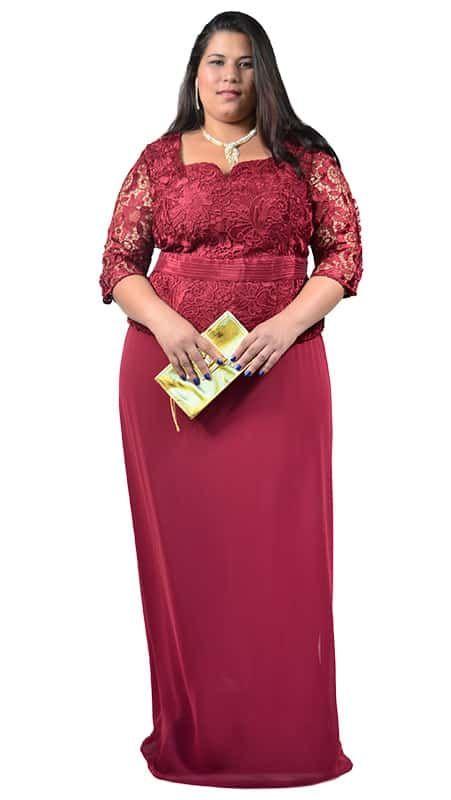 311a605e521766 Vestido longo Plus Size com corpete em Renda – Moda Maior Plus Size ...