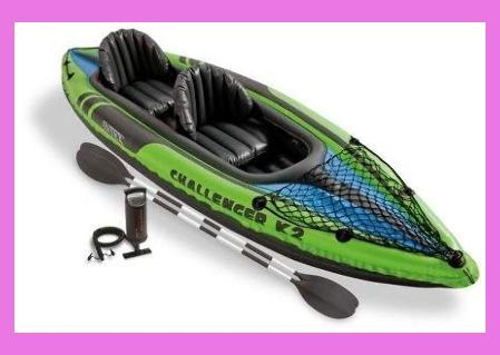 Intex Challenger K2 2 Person Inflatable Sporty Kayak Oars And