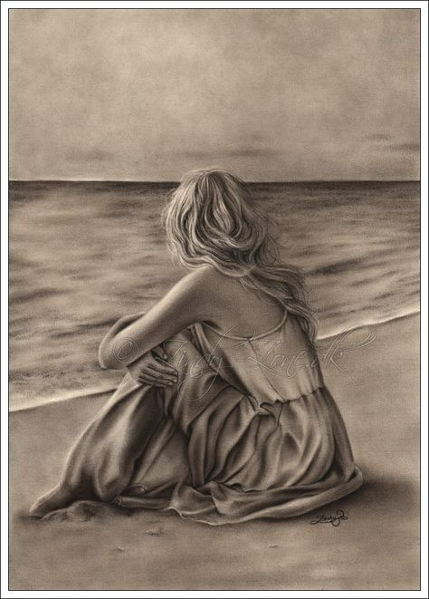 Mujer Mirando El Mar Playa Dibujo Paisaje A Lapiz Arte Del Grafito