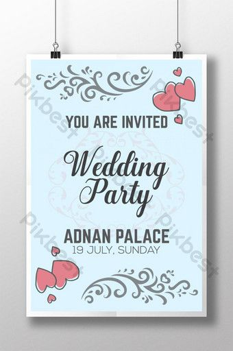 Wedding Party Invitation Poster Template Design For Marriage Ceremony Ai Free Download Pikbest Wedding Invitation Format Wedding Party Invites Wedding Ceremony Invitations