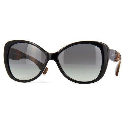 Oculos De Sol Ralph By Ralph Lauren Acetato Preto Com Lente Cinza