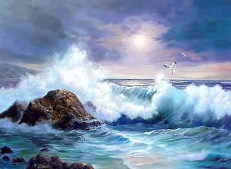 """Huge Oil painting seascape ocean waves with rock sea birds in sunset 36"""" picclick.com"""