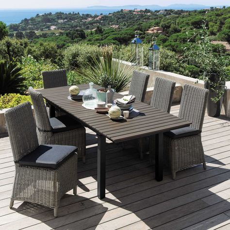 Garden Table In Imitation Wood Composite And Aluminium In Grey W