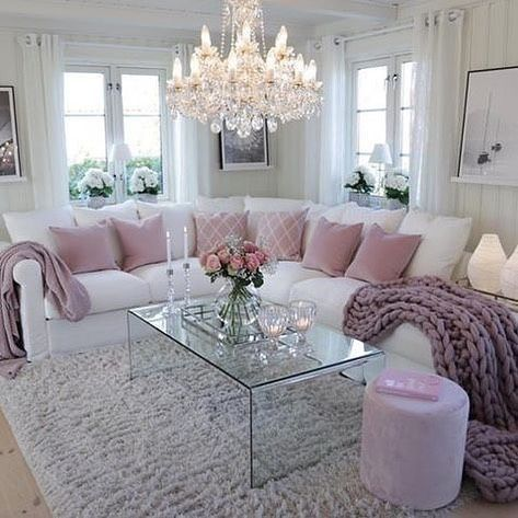 White And Pink Family Room Romantic Living Room Living Room Decor Apartment Glam Living Room