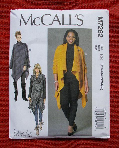 M7262 Damen Mantel Poncho, McCalls