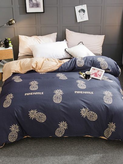 Pineapple Letter Print Duvet Cover 1 Pc Bedding And Curtain