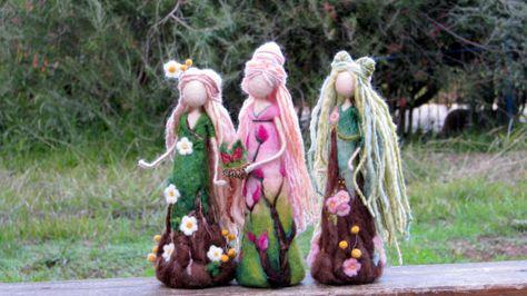 Inspiration Waldorf doll Fantasy poupée fée aiguille feutrée féerie poupée en laine fleur fée poupée d'Art Home décor