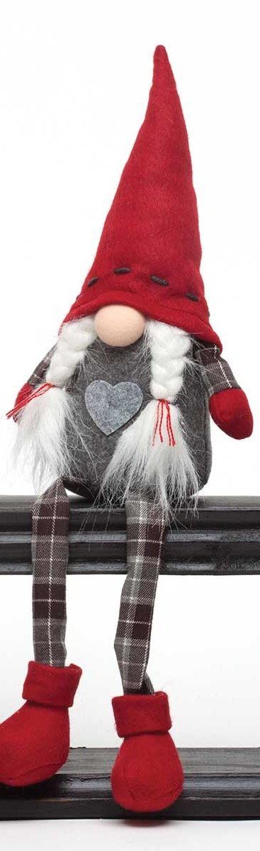 "A sweet little gnome couple with floppy plaid legs ready to display for your Christmas decor. Boy has beard and girl has pigtails. Measures 3"" X 17""."