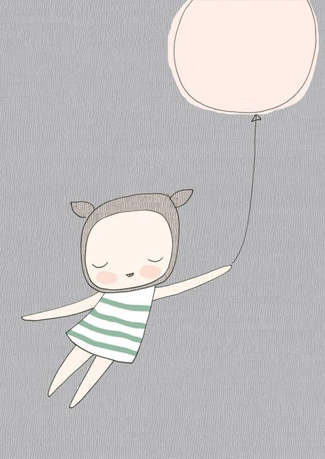 Gray Wall Art, Nursery Art., Girls Room - Little French Bear With a Mint Striped Dress and Pink Balloon - Gray Background on Etsy, $20.00 AUD