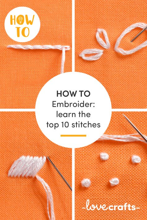 Sticken - 10 Stiche - - Master the top ten embroidery stitches - running stitch, french knots and lazy daisy stitch - we've got all the beginner's embroidery covered! Types Of Embroidery Stitches, Embroidery Stitches Tutorial, Embroidery Flowers Pattern, Simple Embroidery, Embroidery Patterns Free, Learn Embroidery, Embroidery Hoop Art, Hand Embroidery Designs, Embroidery Techniques