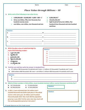 Worksheet Place Value Through Billions Iii Convert And Identify Large Numbers Into Different Forms Using Plac Number Theory Fifth Grade Math Place Values Place value to billions worksheets