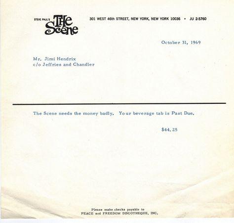 Jimi Hendrix bar tab Ephemera  Documents Pinterest Bar