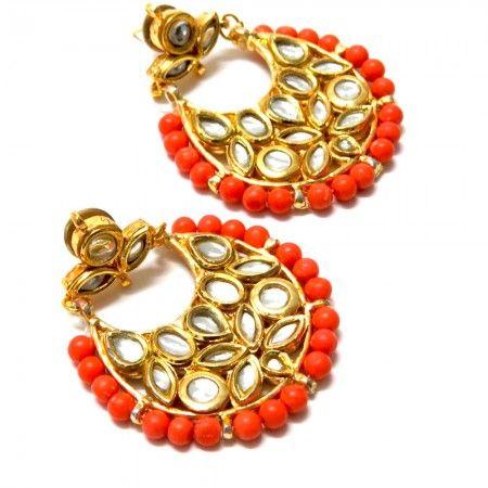 Coral Chand Bali Earrings