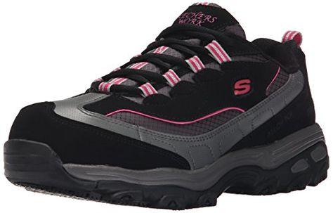 Skechers for Work Women's 76442 D'Lites Slip Resistant Steel Toe Work Shoe