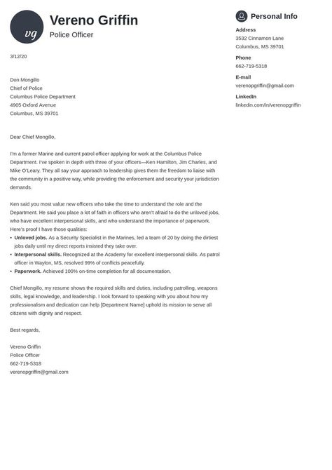law enforcement cover letter example template primo