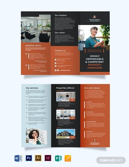 Property Management Maintenance Tri Fold Brochure Template Word Doc Psd Indesign Apple Mac Pages Illustrator Publisher Trifold Brochure Template Trifold Brochure Corporate Brochure Design