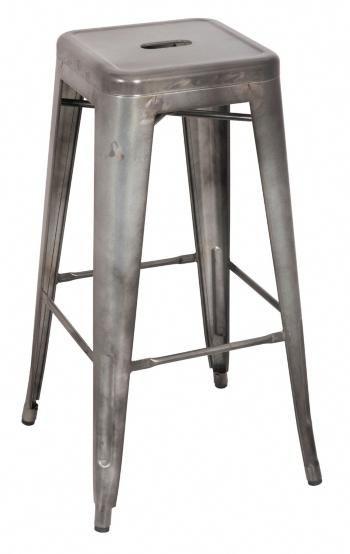 Galvanized Steel Bar Stool Set Of 4 Grey Cheaphomebardecor