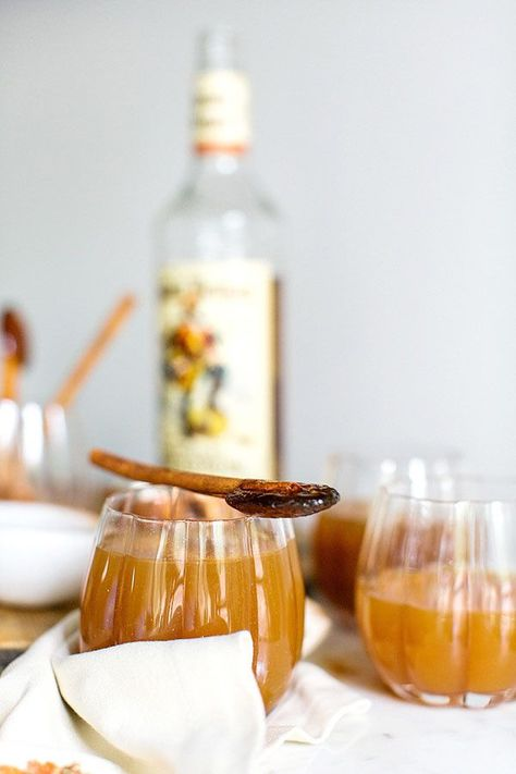 Spiced Apple Cider with Rum via Waiting on Martha