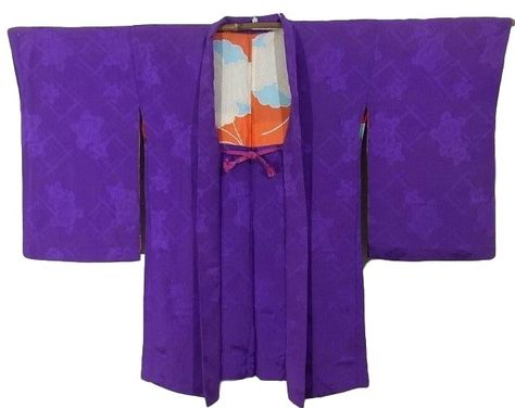 35b46a42d This is a vintage Haori of elegant purple. Textile is exquisite silk with  woven