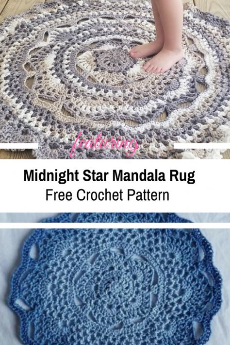 Midnight Star Mandala Rug Is The Perfect Accent Piece To Any Room In Your Home [Free Pattern] – Knit And Crochet Daily – Lindsay Farewell - Crochet Crochet Doily Rug, Crochet Rug Patterns, Crochet Mandala Pattern, Knitting Patterns Free, Free Crochet, Knit Crochet, Free Pattern, Crochet Humor, Crochet Afghans