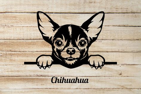 Chihuahua Peeking out window Vinyl Decal Sticker can be customized - 9 Wide / Black