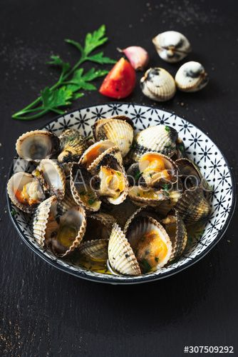 High Angle View Of Clams In Plate By Ingredients On Black Background Affiliate View Clams High Angle Black Ad In 2020 Black Backgrounds Clams High Angle