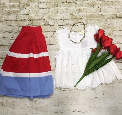 Love this classy outfit to wear for the 4th of July!! White Eyelet Top $20 Midi Skirt $35 Necklace $20  Comment below with PayPal to purchase and ship or comment with size for 24 hour hold  #repurposeboutique#hipandtrendy#shoprepurpose#boutiquelove#summer#summerready#4thofjuly