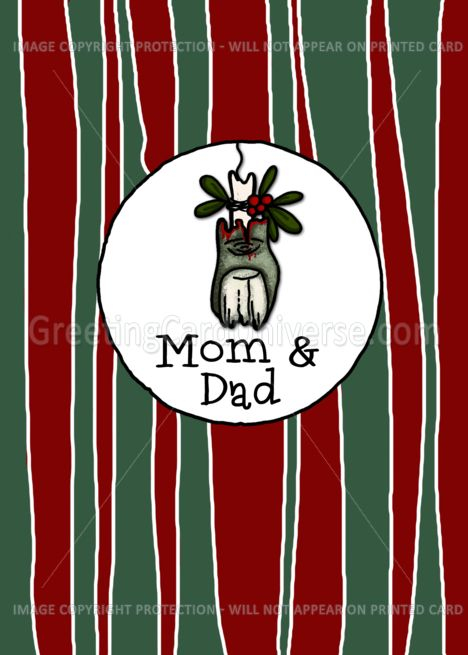 For Mom Dad Mistle Toe Zombie Christmas Card Professional
