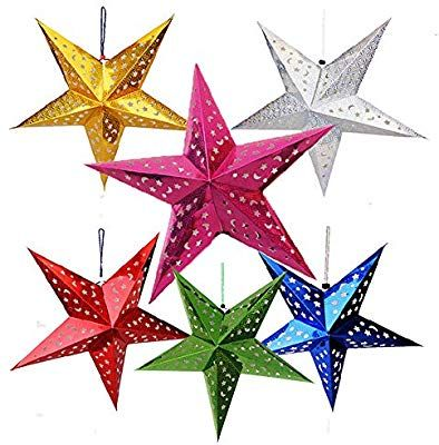 Auony 6 Pack Paper Star Lantern Lampshade 3d Paper Star Pentagram Lampshade For Christmas Xmas Wedding P Paper Star Lanterns Paper Lantern Lights Party Lights