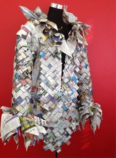 This jacket is made from recycled paper, it gives the garment depth and an innovative look. Why should recycling, reusing and up cycling be boring when you can create beautiful pieces and sculptures.