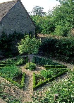 Walled herb and vegetable garden parterre - Hinton House, Bibury