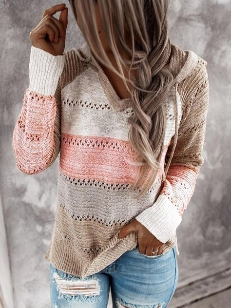 Paneled Hooded V-neck Knitted Sweater - Pink, S(BUST37.8in)
