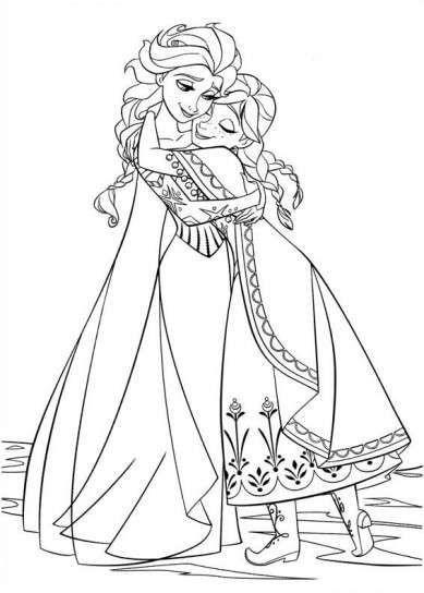 Tierno Abrazo Frozen Frozen Para Colorear Dibujos De Frozen
