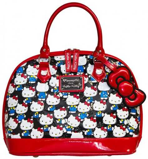 c960b01ea Loungefly Hello Kitty Black Vintage Print Patent Embossed Dome Bag