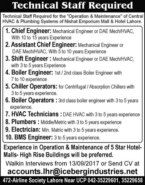 Nishat Emporium Mall  Hotel Jobs  In Lahore For Chief