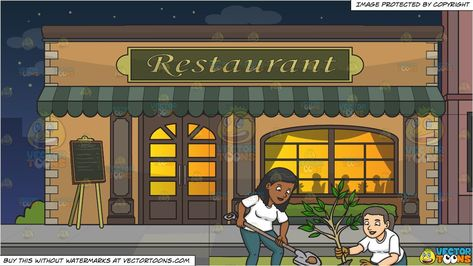 clipart #cartoon A Black Woman Volunteer Planting Small Tree and Outside A Fancy Restaurant Background Vendor: v Silhouette people Small trees Orange walls